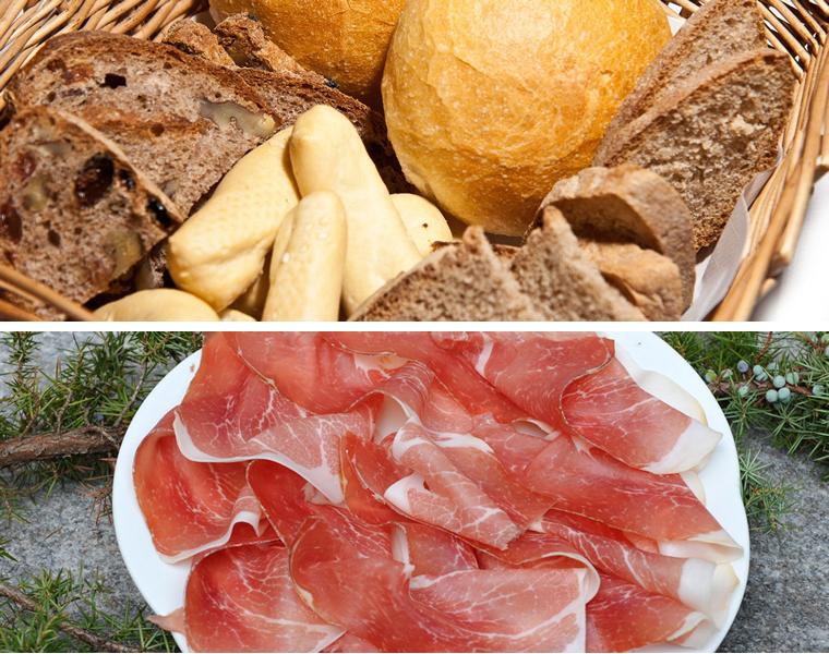 Pane e prosciutto crudo affumicato della Val Vigezzo