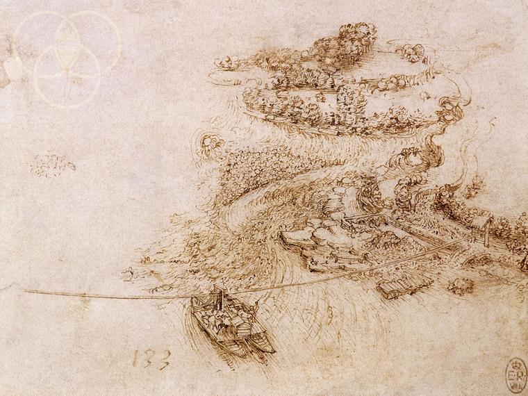 Leonardo, il traghetto del porto fluviale tra Canonica e Vaprio